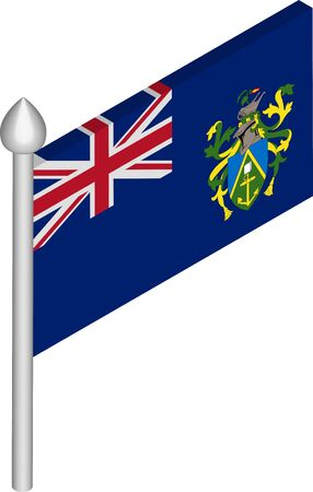 Vector Isometric Illustration of Flagpole with Pitcairn Henderson Ducie and Oeno Islands Flag