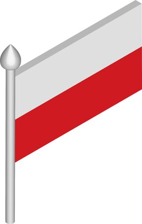 Vector Isometric Illustration of Flagpole with Poland Flag