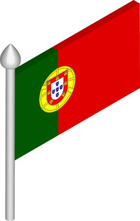 Vector Isometric Illustration of Flagpole with Portugal Flag