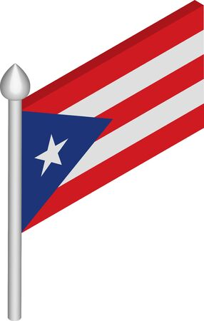 Vector Isometric Illustration of Flagpole with Puerto Rico Flag