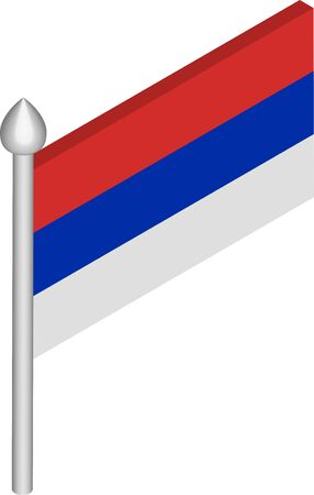 Vector Isometric Illustration of Flagpole with Republika Srpska Flag  イラスト・ベクター素材