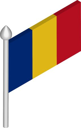 Vector Isometric Illustration of Flagpole with Romania Flag  イラスト・ベクター素材