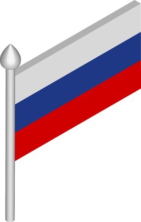 Vector Isometric Illustration of Flagpole with Russia Flag