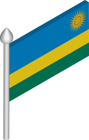 Vector Isometric Illustration of Flagpole with Rwanda Flag