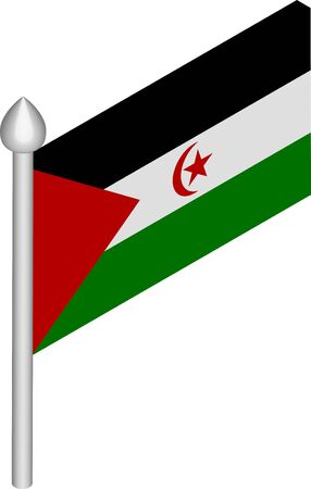 Vector Isometric Illustration of Flagpole with Sahrawi Arab Democratic Republic Flag