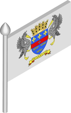 Vector Isometric Illustration of Flagpole with Saint Barthelemy Flag