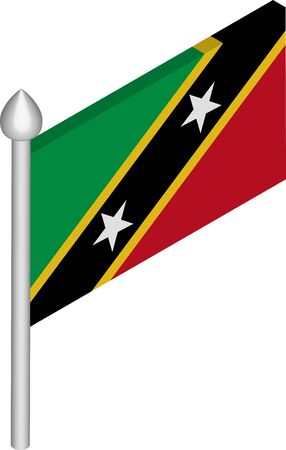Vector Isometric Illustration of Flagpole with Saint Kitts and Nevis Flag