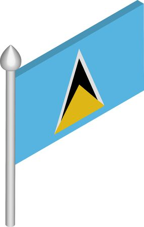 Vector Isometric Illustration of Flagpole with Saint Lucia Flag  イラスト・ベクター素材