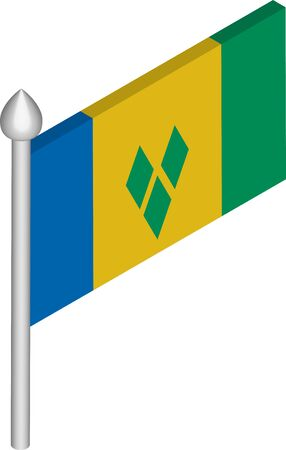 Vector Isometric Illustration of Flagpole with Saint Vincent and the Grenadines Flag  イラスト・ベクター素材