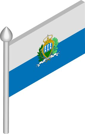 Vector Isometric Illustration of Flagpole with San Marino Flag