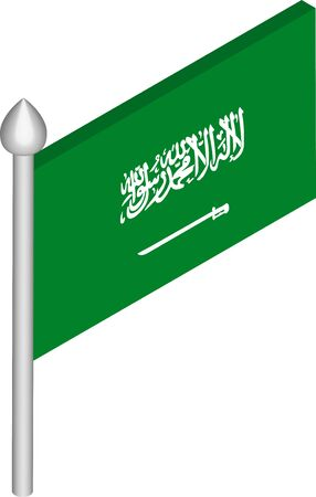 Vector Isometric Illustration of Flagpole with Saudi Arabia Flag