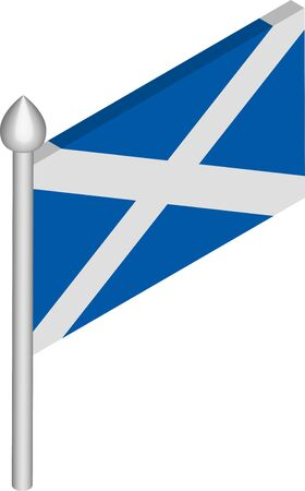 Vector Isometric Illustration of Flagpole with Scotland Flag