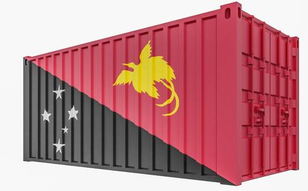 3D Illustration of Cargo Container with Papua New Guinea Flag