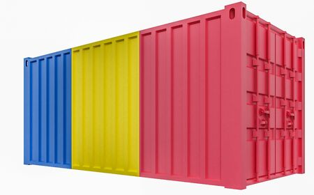 3D Illustration of Cargo Container with Romania Flag