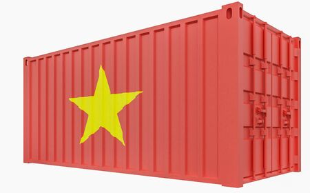 3D Render of Cargo Container with Vietnam Flag Stock Photo