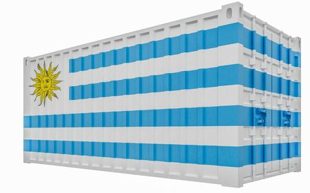 3D Render of Cargo Container with Uruguay Flag