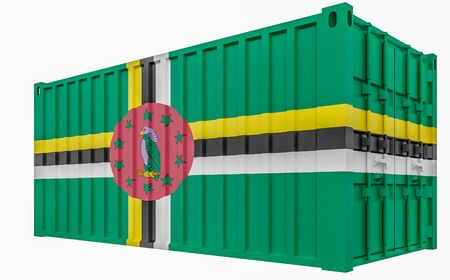 3D Illustration of Cargo Container with Dominica Flag 版權商用圖片