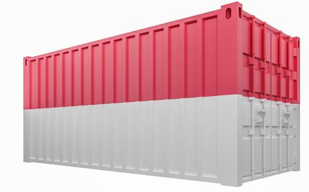 3D Illustration of Cargo Container with Indonesia Flag