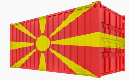 3D Illustration of Cargo Container with Macedonia Flag