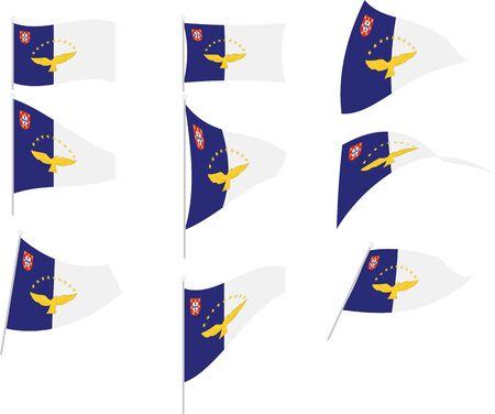 Vektor-Illustration des Sets mit Azoren-Flagge
