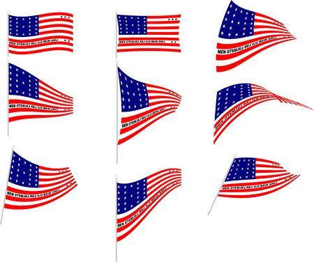 Vector Illustration of Set with Bikini Atoll Flag