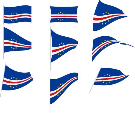 Vector Illustration of Set with Cape Verde Flag Vectores