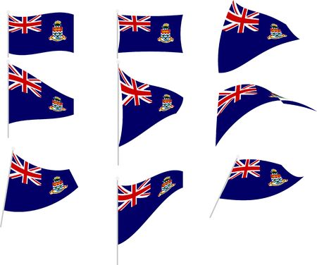 Vector Illustration of Set with Cayman Islands Flag