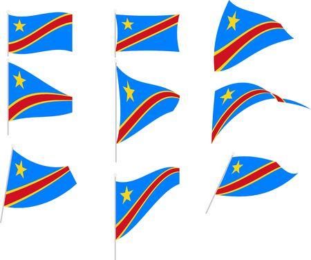 Vector Illustration of Set with Congo Democratic Republic Flag Standard-Bild - 134430558