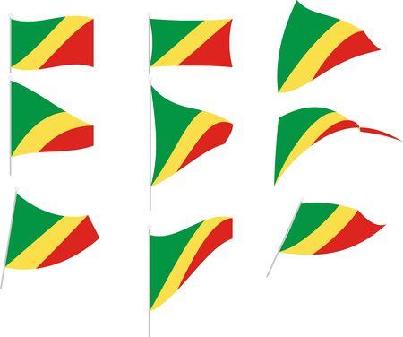 Vector Illustration of Set with Congo Republic Flag Standard-Bild - 134430559