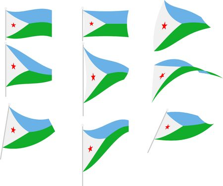 Vector Illustration of Set with Djibouti Flag