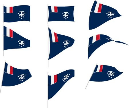 Vector Illustration of Set with French Southern and Antarctic Lands Flag