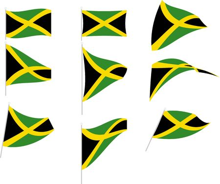 Vector Illustration of Set with Jamaica Flag