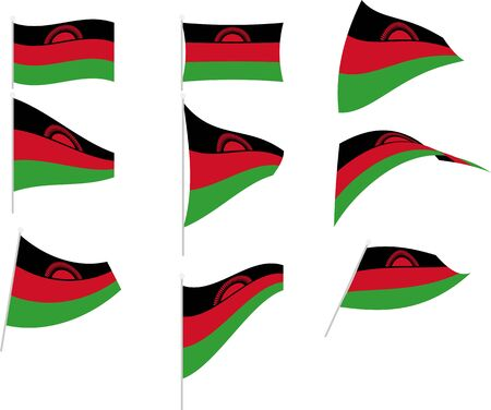 Vector Illustration of Set with Malawi Flag