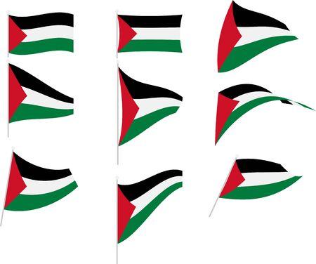 Vector Illustration of Set with Palestine Flag