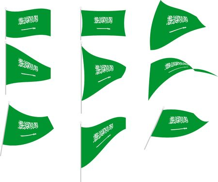 Vector Illustration of Set with Saudi Arabia Flag