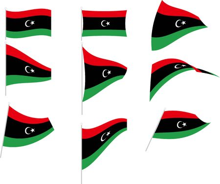 Vector Illustration of Set with Libya Flag Illustration