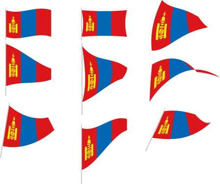 Vector Drawing of Set with Mongolia Flag
