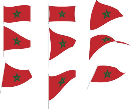 Vector Drawing of Set with Morocco Flag