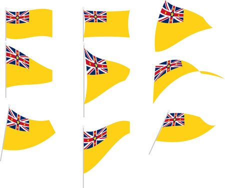 Vector Drawing of Set with Niue Flag