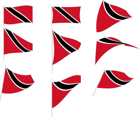 Vector Illustration of Set with Trinidad and Tobago Flag