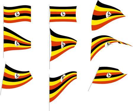 Vector Illustration of Set with Uganda Flag