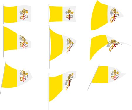 Vector Illustration of Set with Vatican City Flag