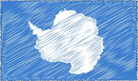 Vector Drawing of Sketch Style Antarctica Flag