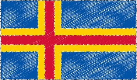 Vector Illustration of Sketch Style Aland Flag