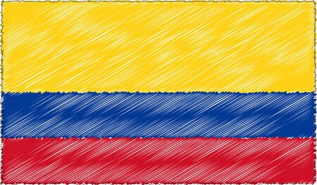 Vector Drawing of Sketch Style Colombia Flag