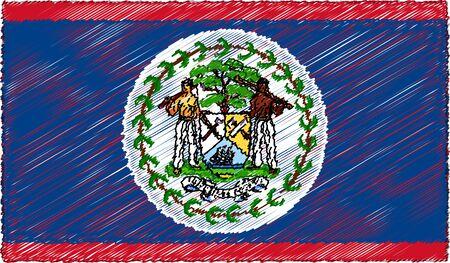 Vector Illustration of Sketch Style Belize Flag