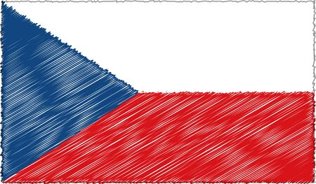 Vector Drawing of Sketch Style Czech Republic Flag