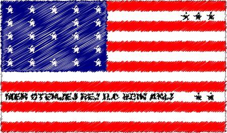 Vector Illustration of Sketch Style Bikini Atoll Flag
