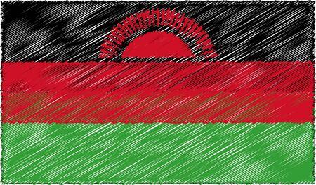 Vector Illustration of Sketch Style Malawi Flag 向量圖像