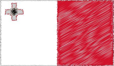 Vector Illustration of Sketch Style Malta Flag